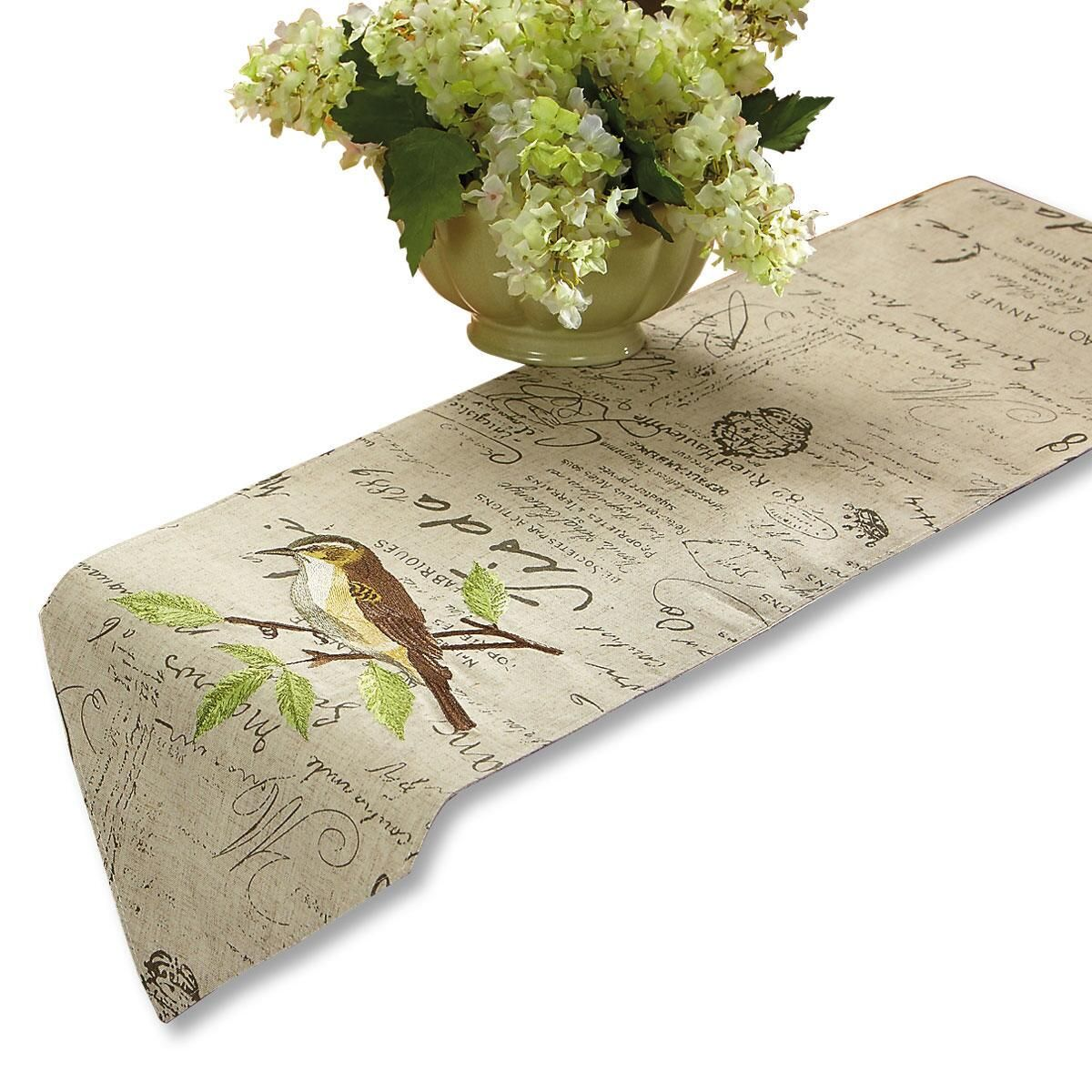 Embroidered Bird Table Runner