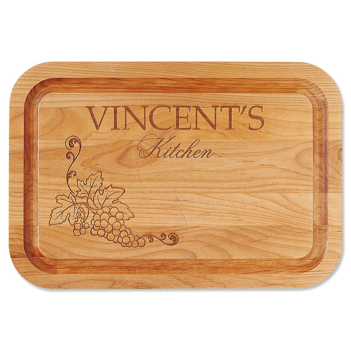Vineyard Red Alder Engraved Wood Cutting Board