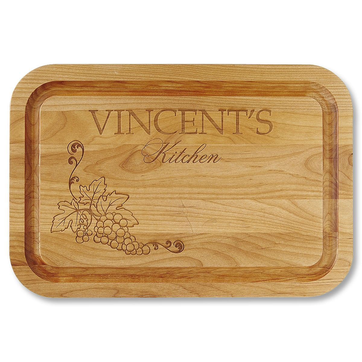 Vineyard Red Alder Engraved Wood Cutting Board
