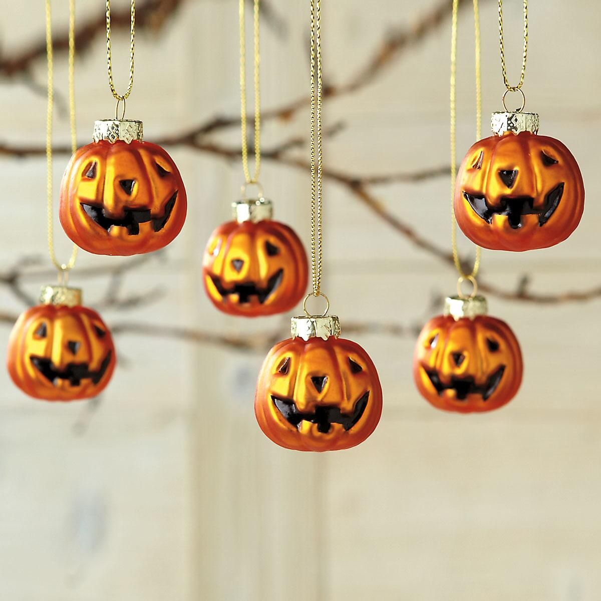 Glass Jack-O'-Lantern Ornaments