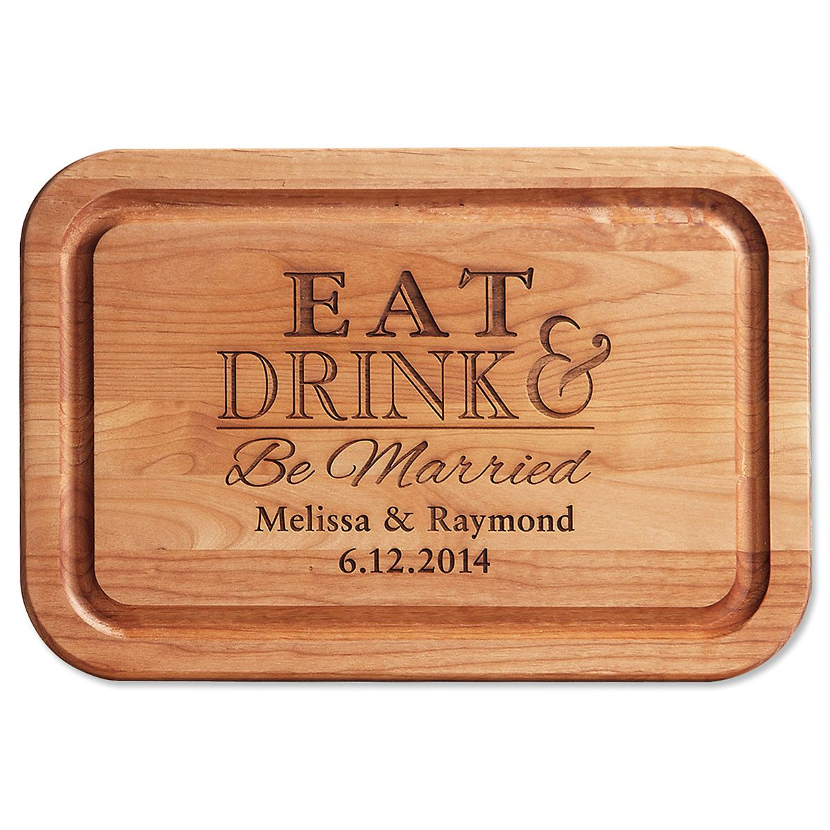 Alder Eat, Drink, Be Married Personalized Wood Cutting Board