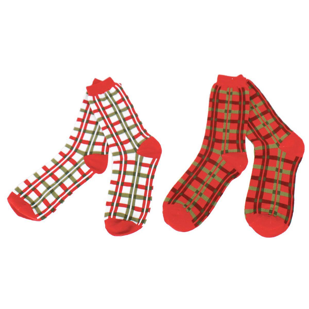 Women's Holiday Crew Socks - Plaid