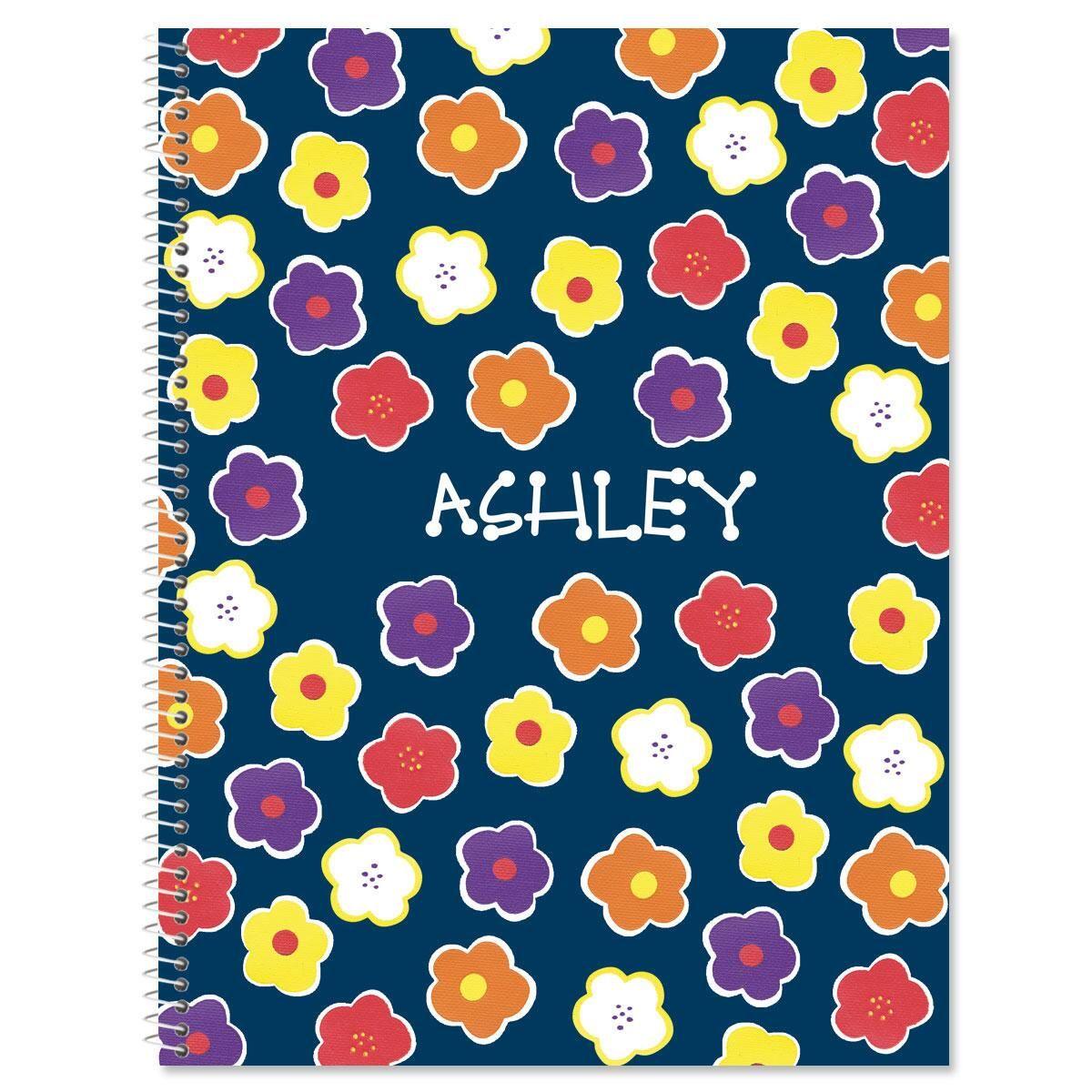 Navy Floral Large Spiral Notebook