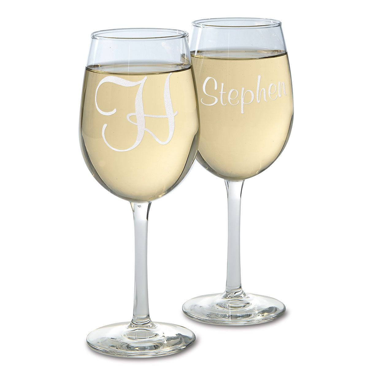 Script Stemmed Personalized Wine Glasses