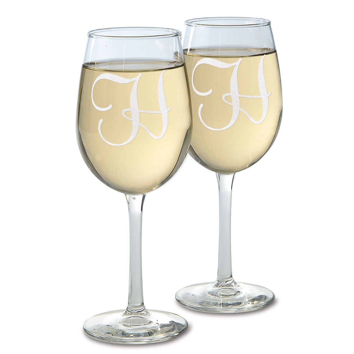Wine Glass with Initial This elegant wine glass is perfect for entertaining or a quiet evening in. Dishwasher safe. 10 1/2 oz. Specify 1 initial