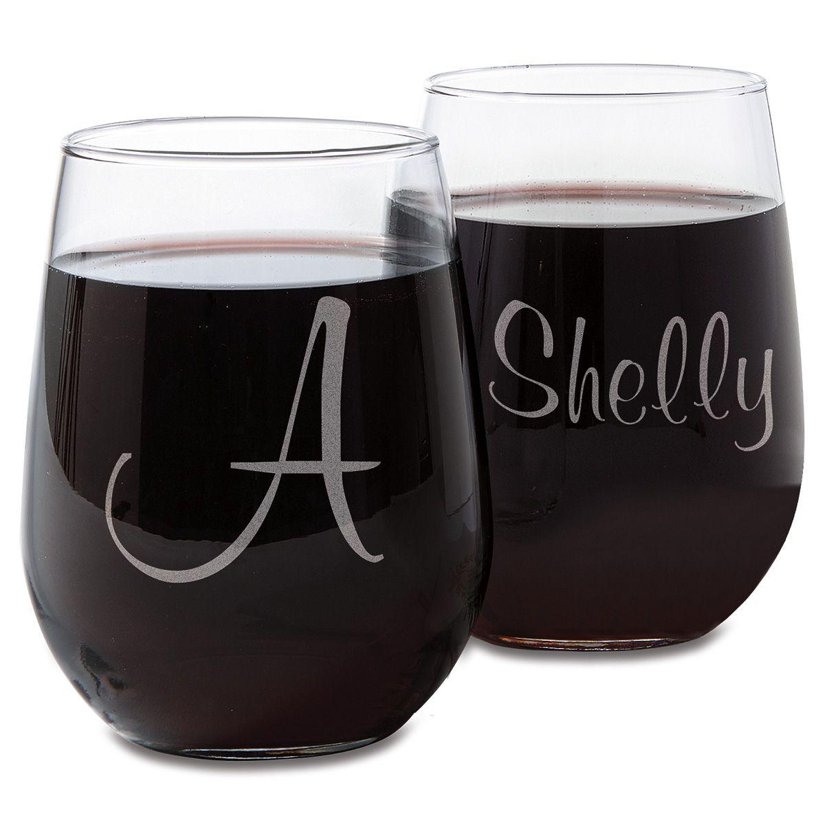 Stemless Personalized Script Wine Glasses