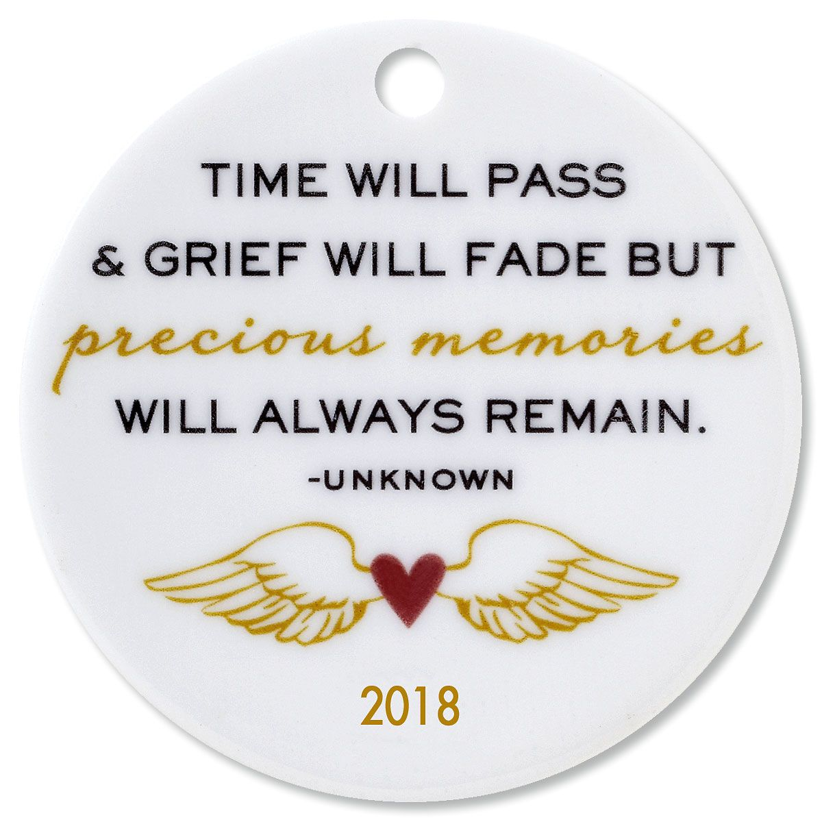 Personalized Time Will Pass Round Memorial Christmas Ornament
