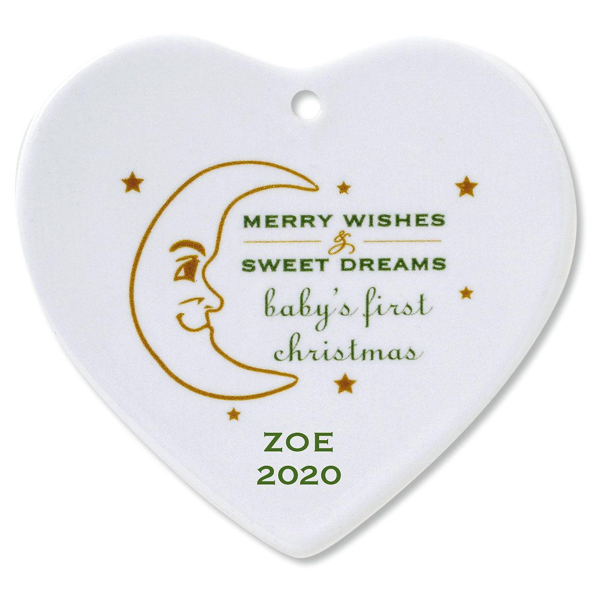 Merry Wishes Heart Baby's 1st Ceramic Personalized Christmas Ornament