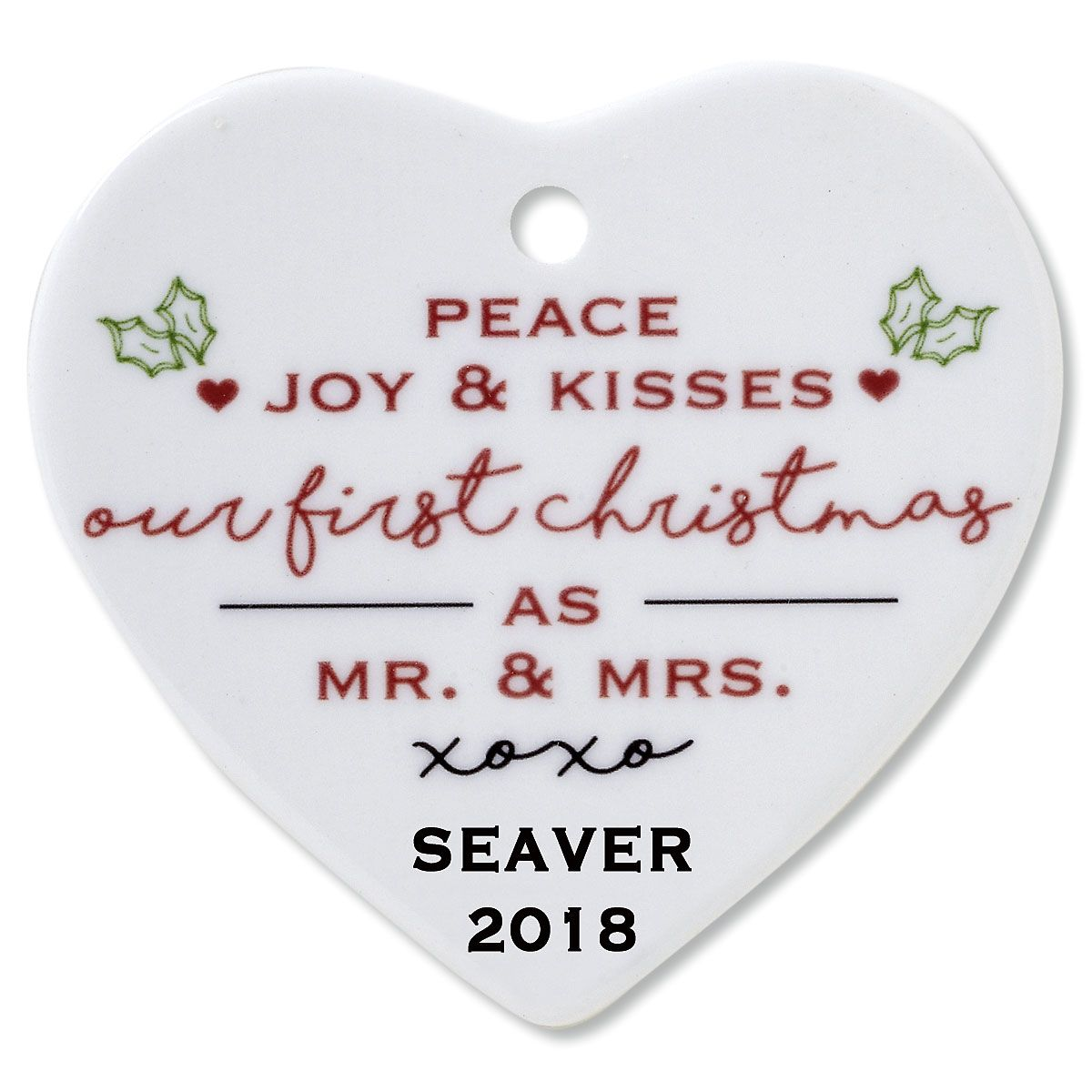 Personalized Peace, Joy & Kisses Heart Wedding Christmas Ornament
