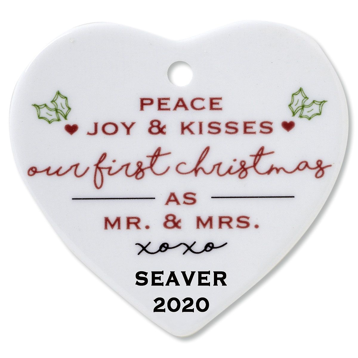 Peace, Joy & Kisses Heart Wedding Ceramic Personalized Christmas Ornament