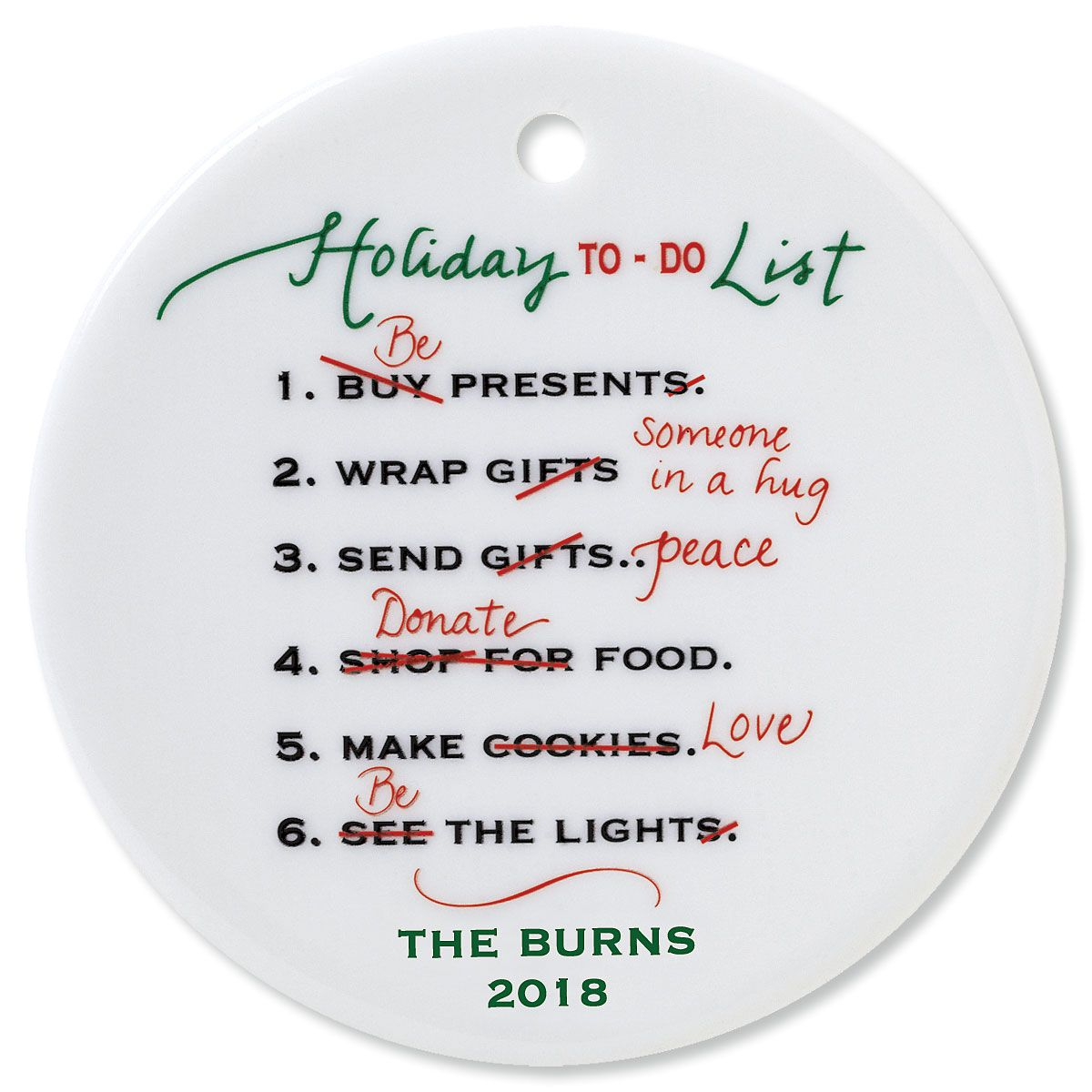 Personalized Holiday To Do Round Christmas Ornament