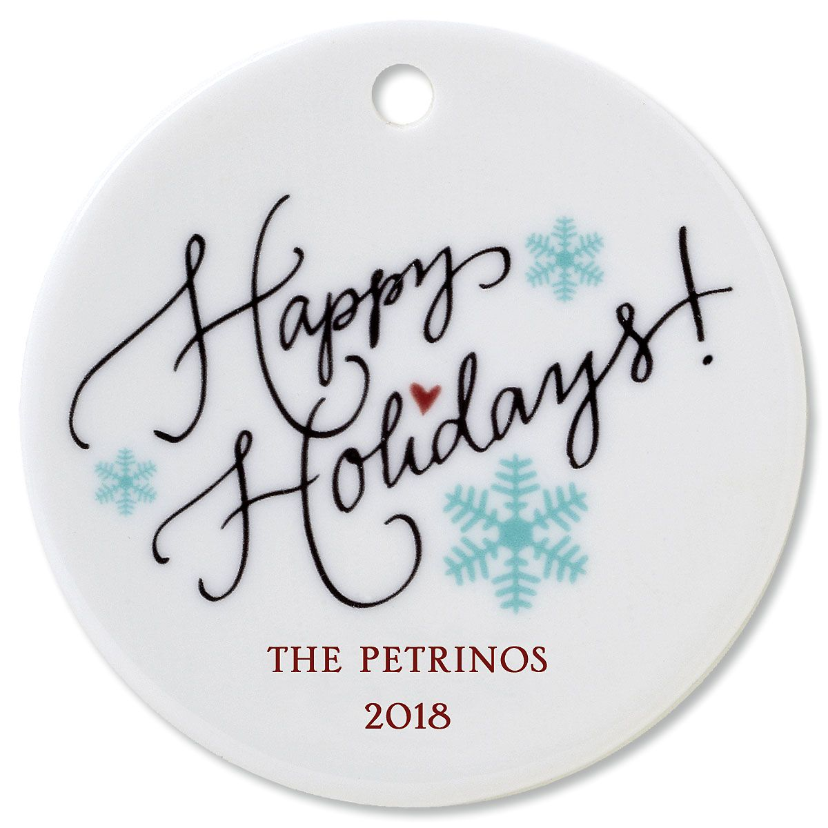Personalized Happy Holidays Round Christmas Ornament