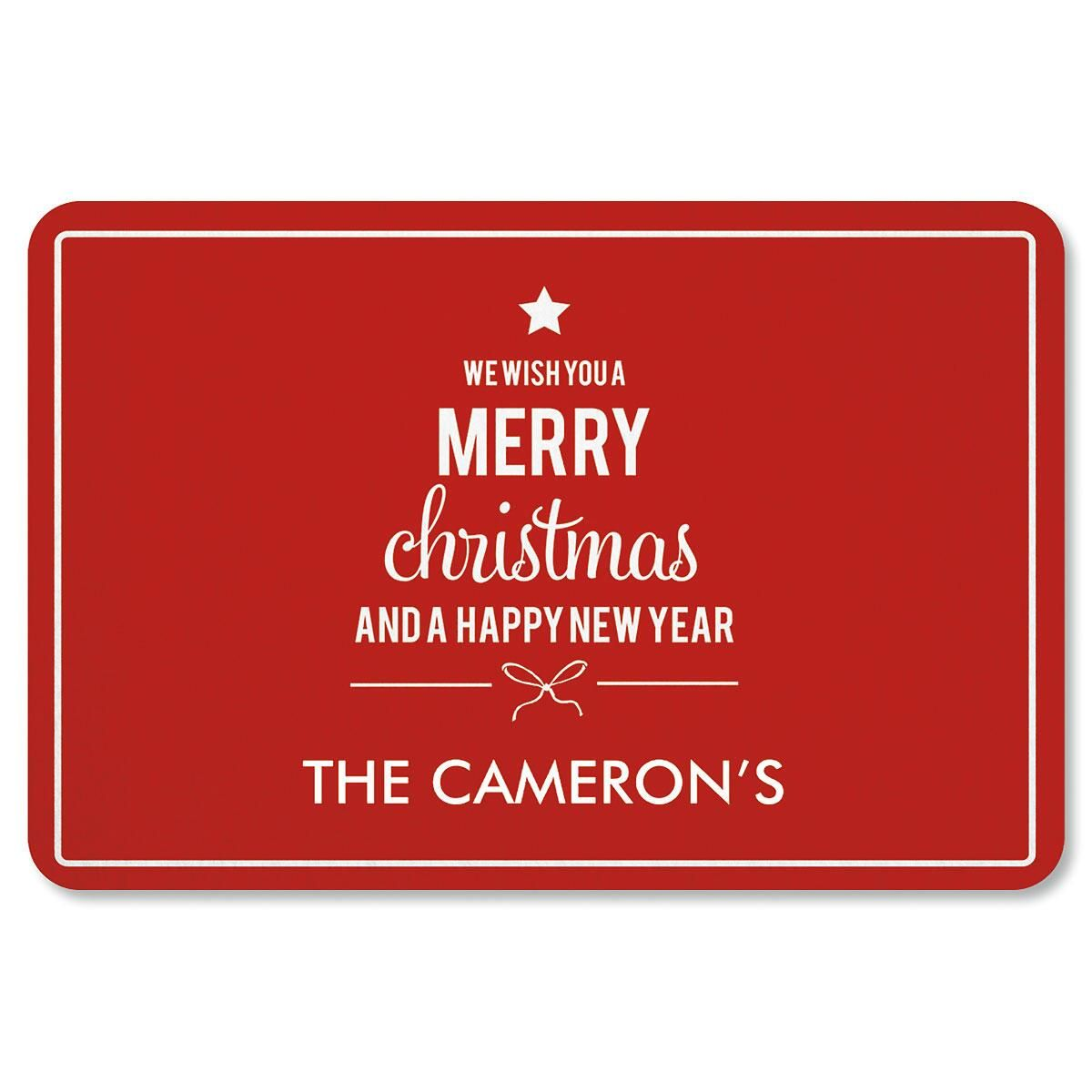 We Wish You Personalized Christmas Doormat