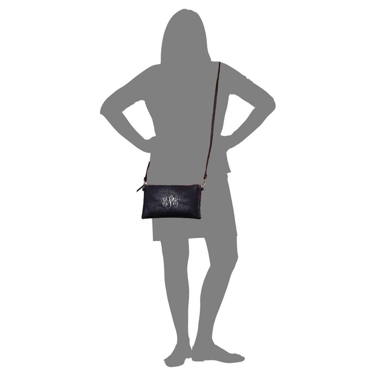 Personalized Black Carry-All Nora Tote Bag with Matching Crossbody Purse