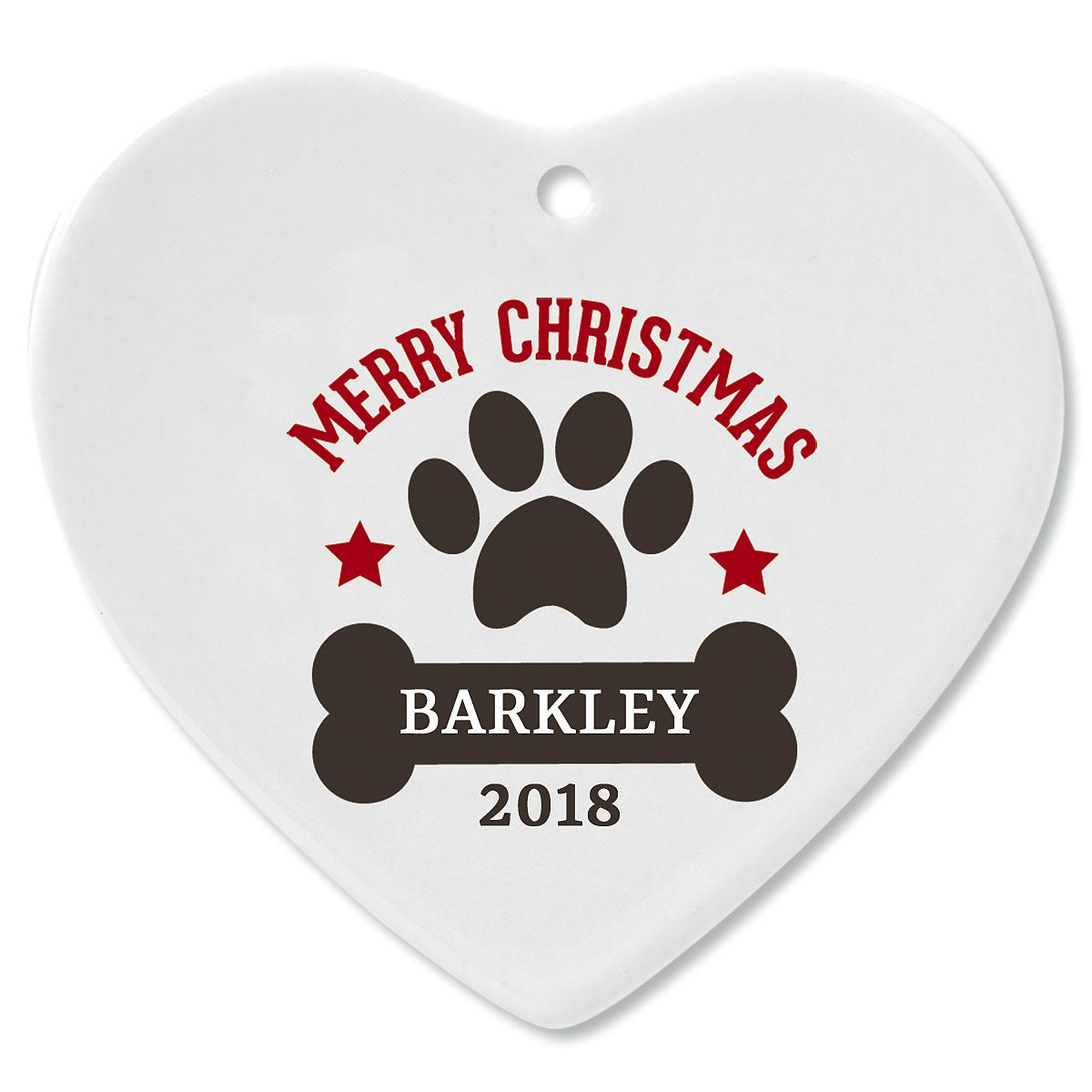 Personalized Paw Print and Bone Heart Pet Christmas Ornament