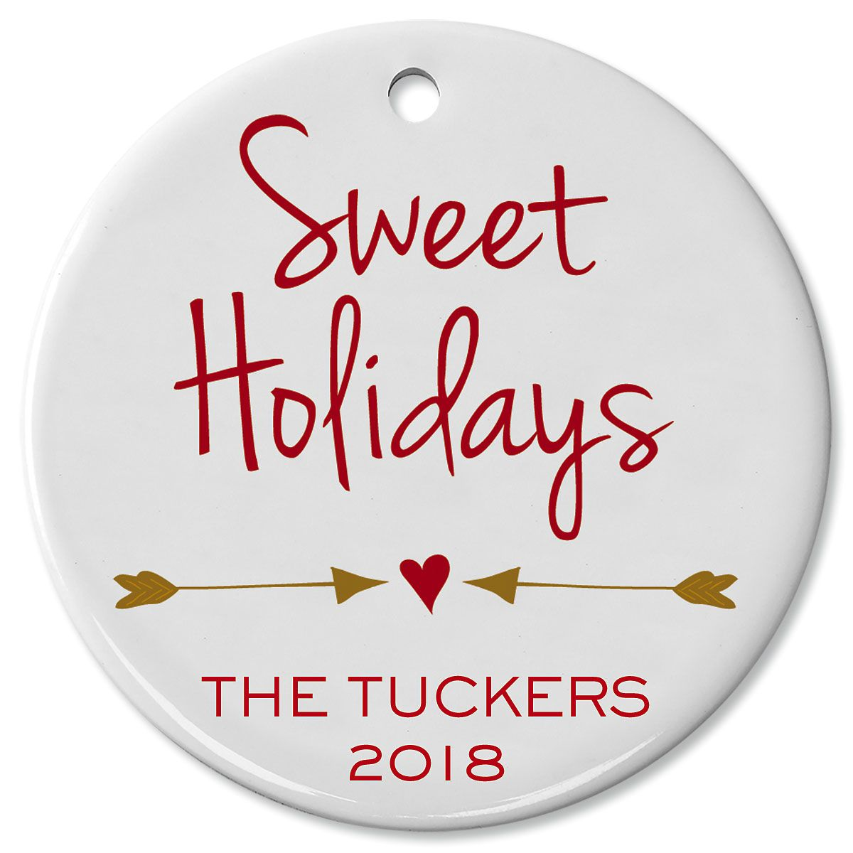 Personalized Sweet Holidays Round Christmas Ornament