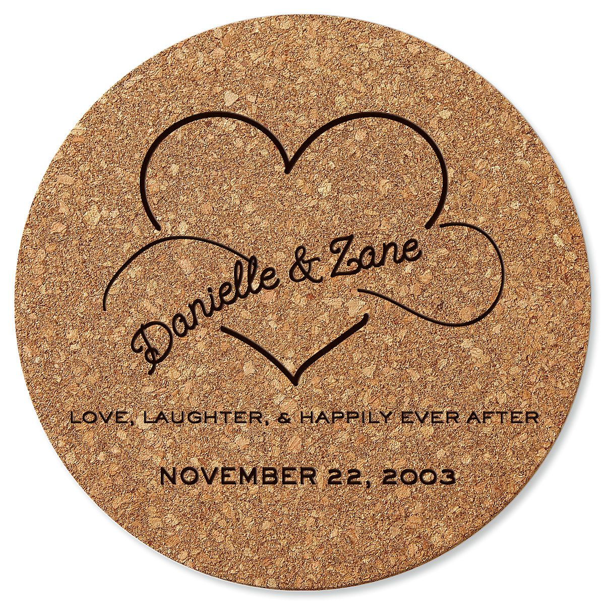 Happily Ever After Round Cork Personalized Trivet