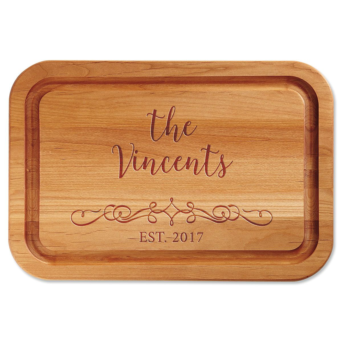 Personalized Vine-Design Engraved Wood Cutting Board