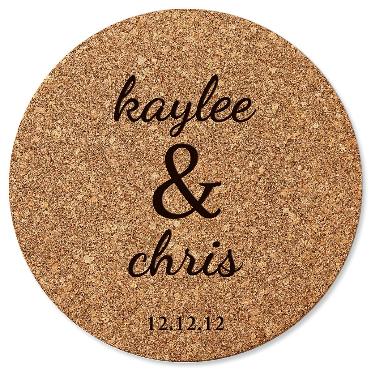 Couple's Round Cork Personalized Trivet