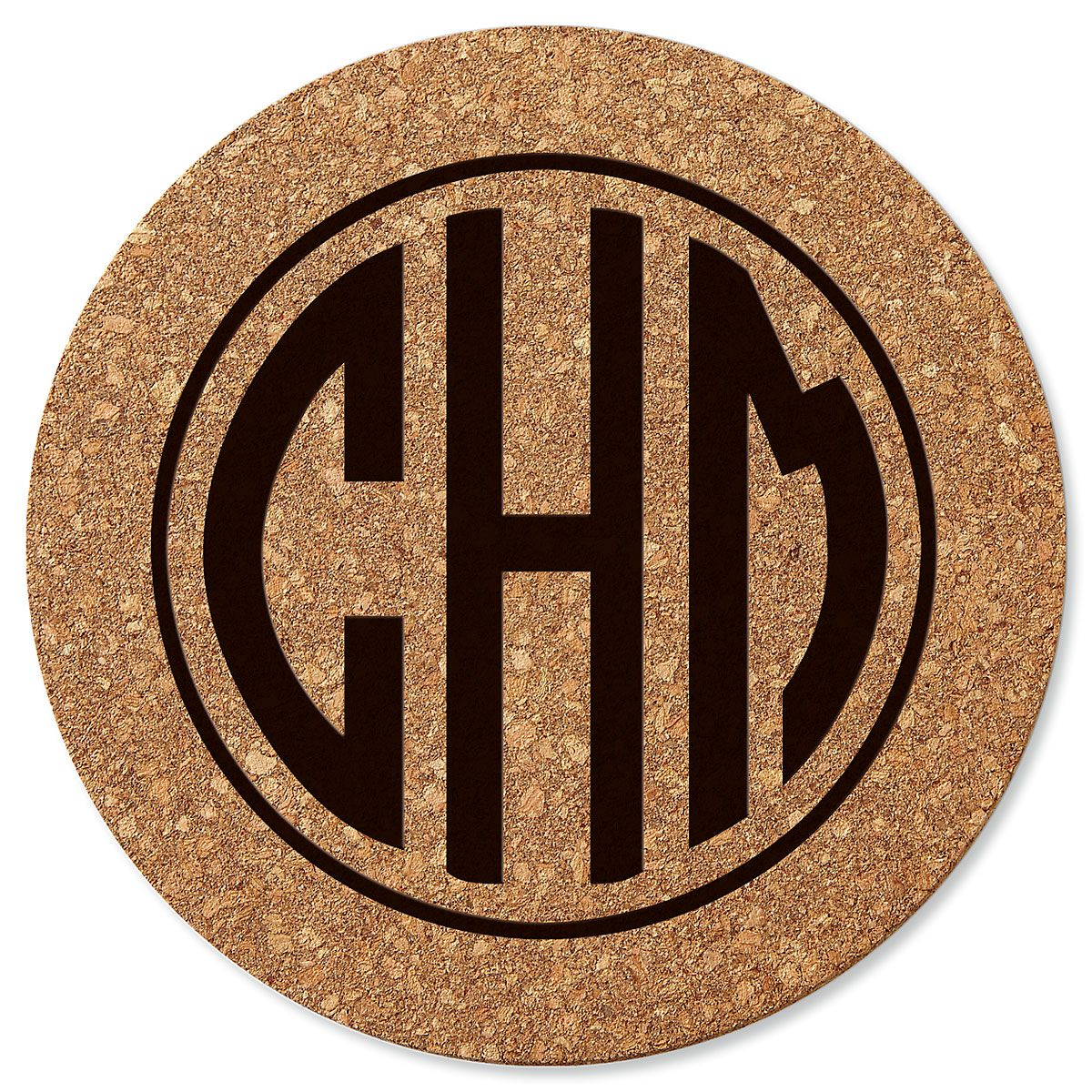 Circle Monogram Round Cork Personalized Trivet