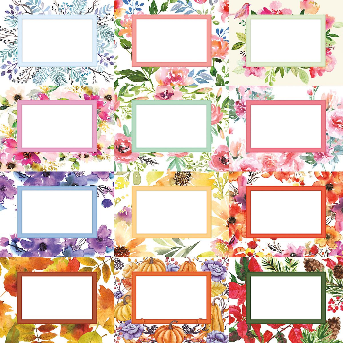 2019 Floral Photo Scrapbook Wall Calendar