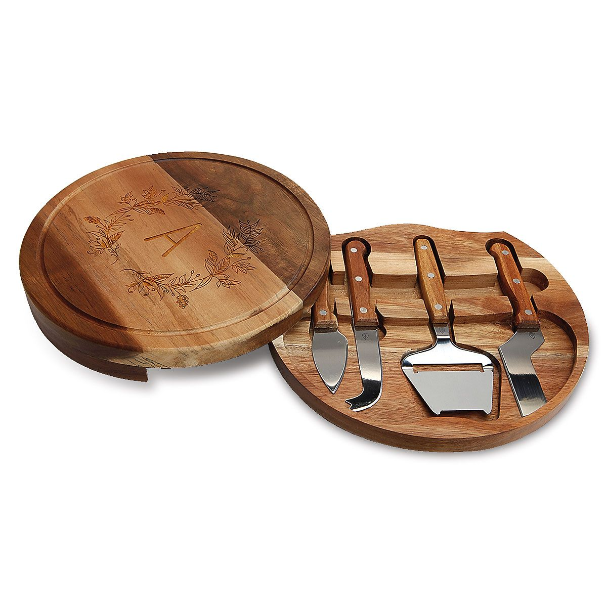 Engraved Wood Cheese Board Set
