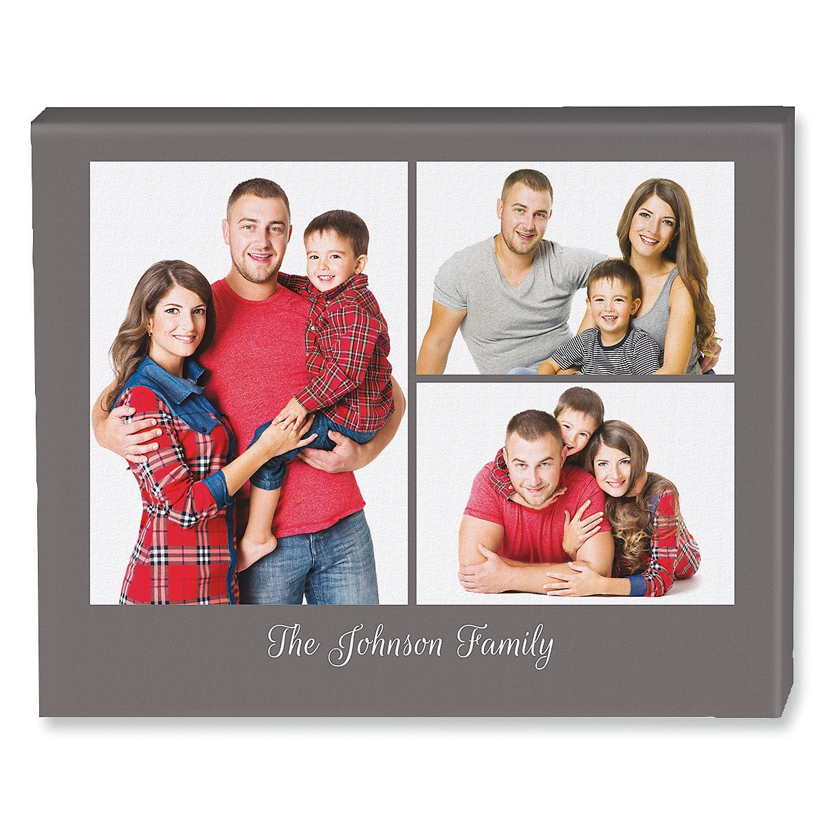 Family Name Grey Collage Canvas Photo Print