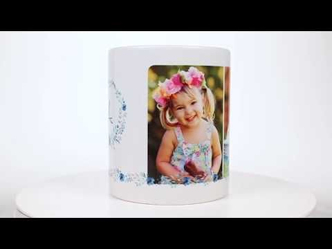 Floral Initial Personalized Photo Mug