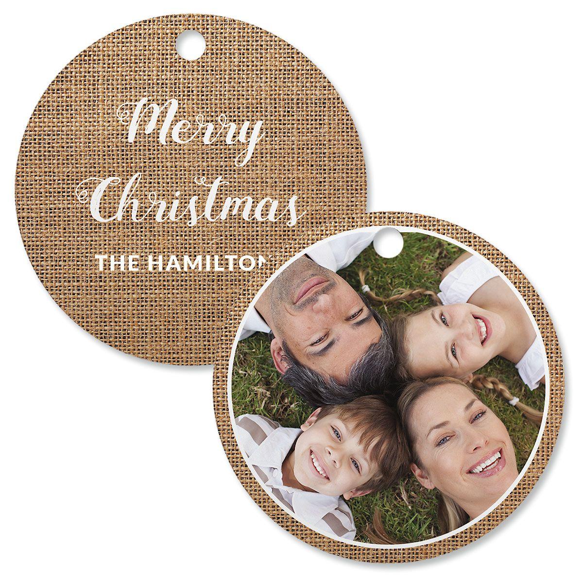 Burlap Personalized Photo Ornament – Circle