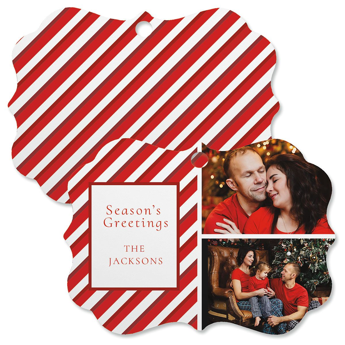 Candy Cane Personalized Photo Ornament - Bracket 2