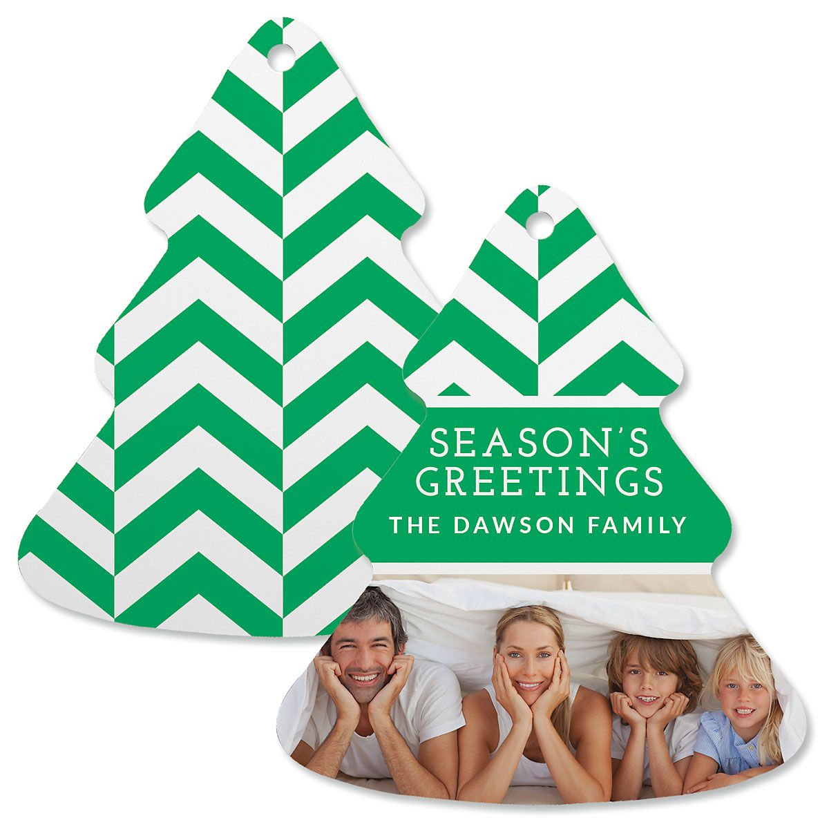 Green Chevron Personalized Photo Ornament – Tree
