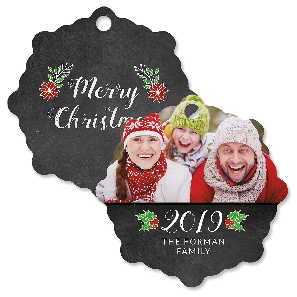 Merry Chalk Personalized Photo Ornament – Snowflake