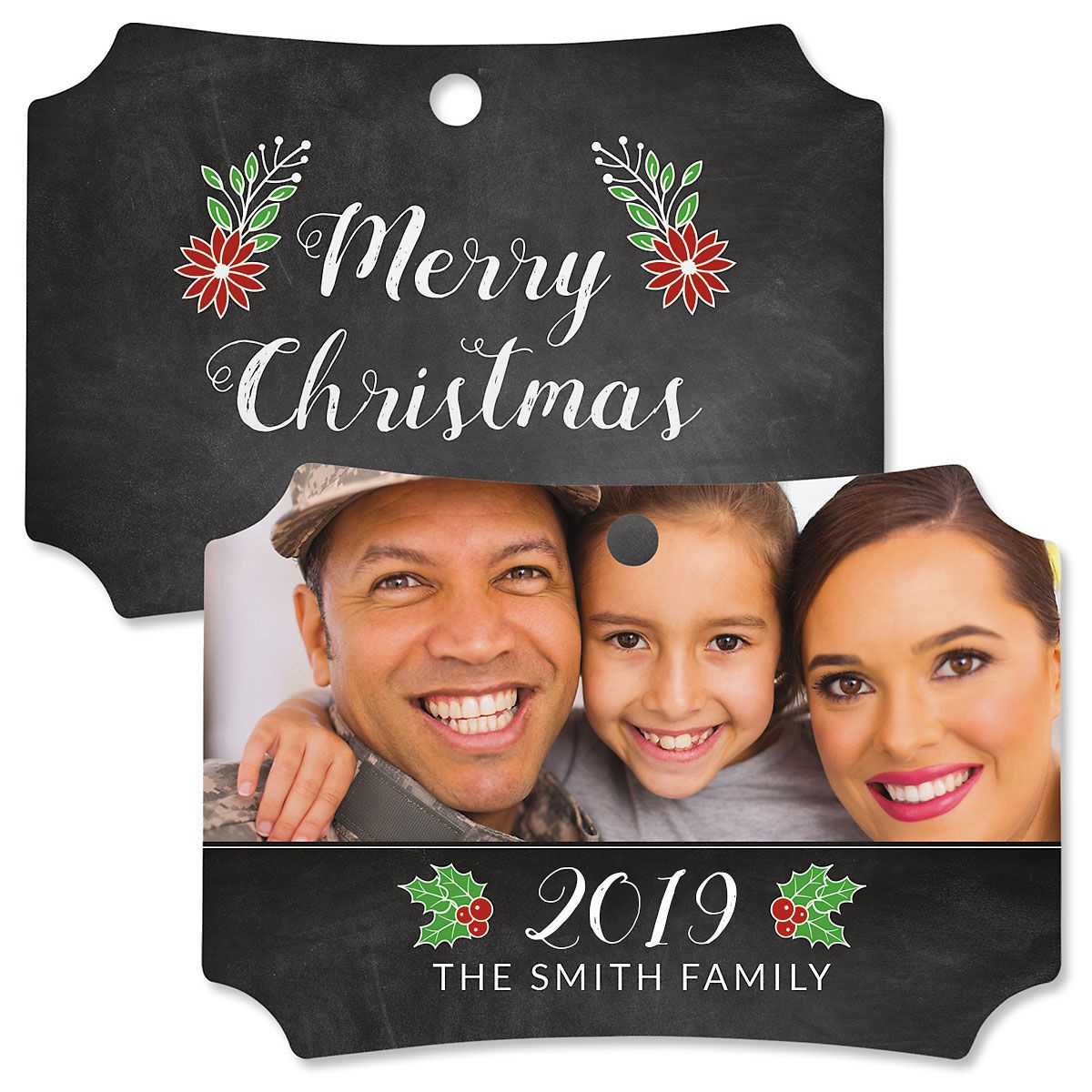 Merry Chalk Personalized Photo Ornament – Deluxe