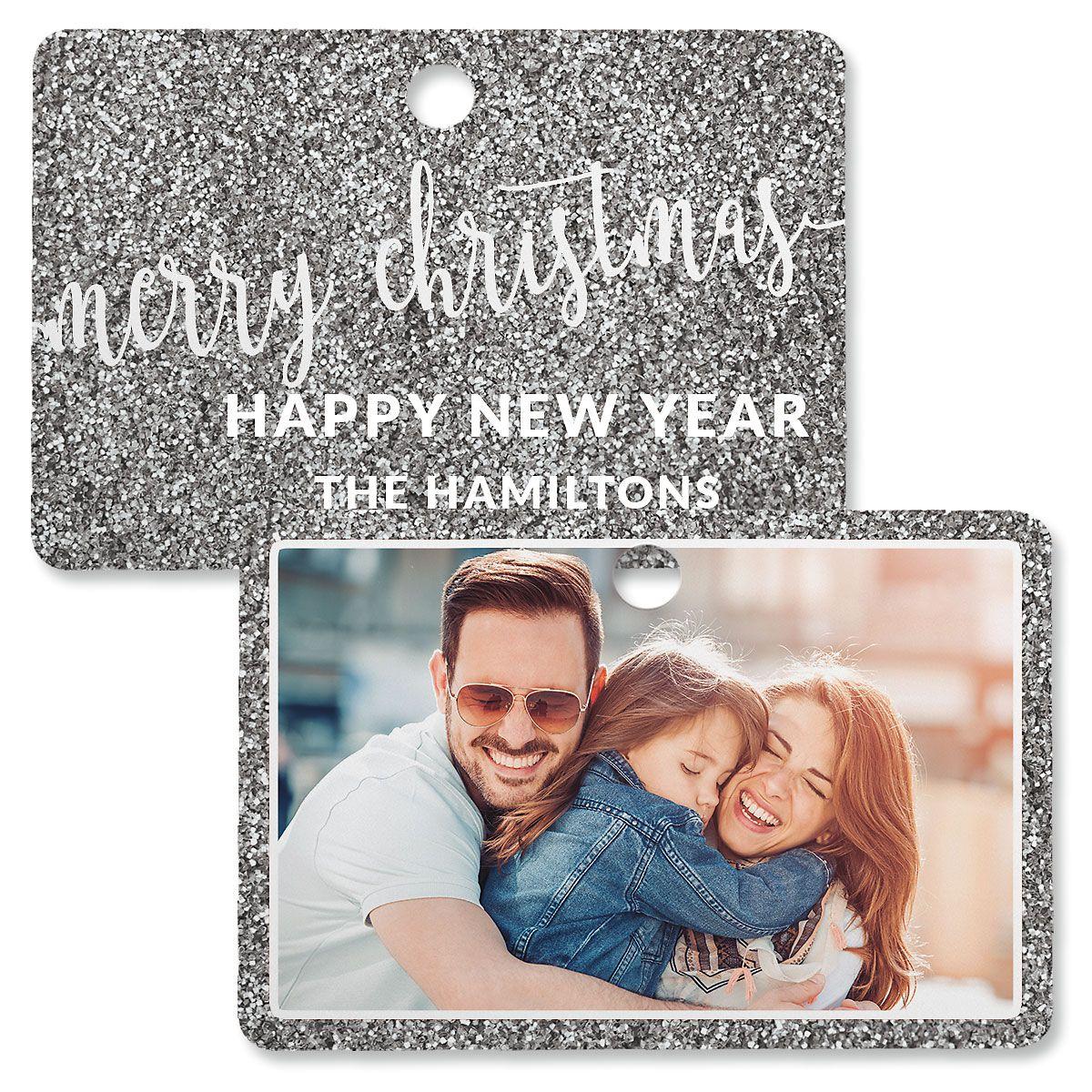 Silver Glitter Personalized Rectangle Photo Ornament