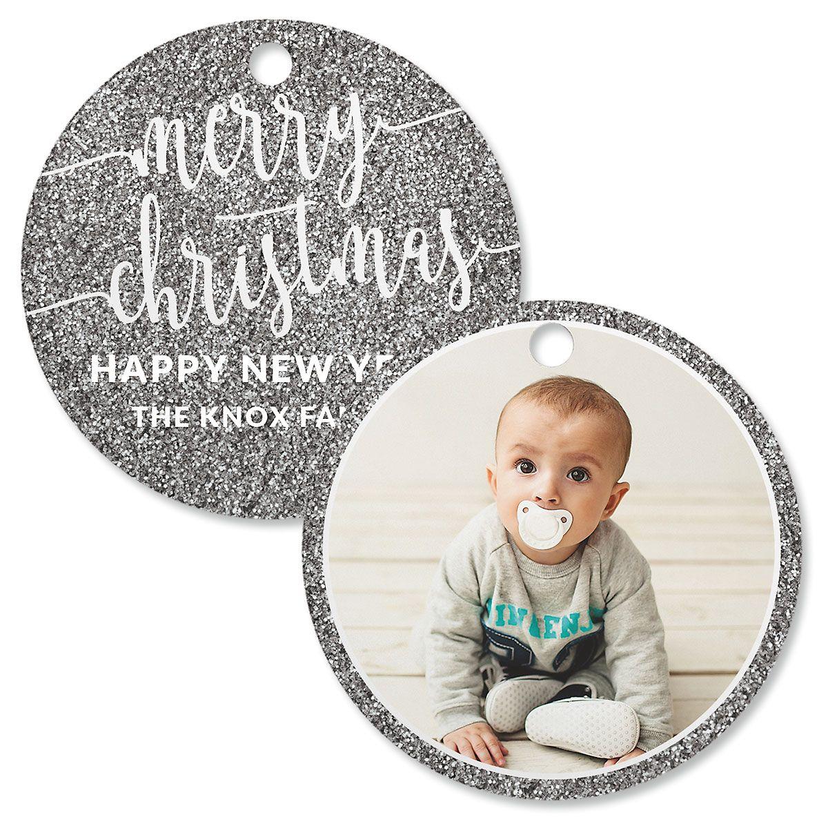 Silver Glitter Personalized Photo Ornament – Circle