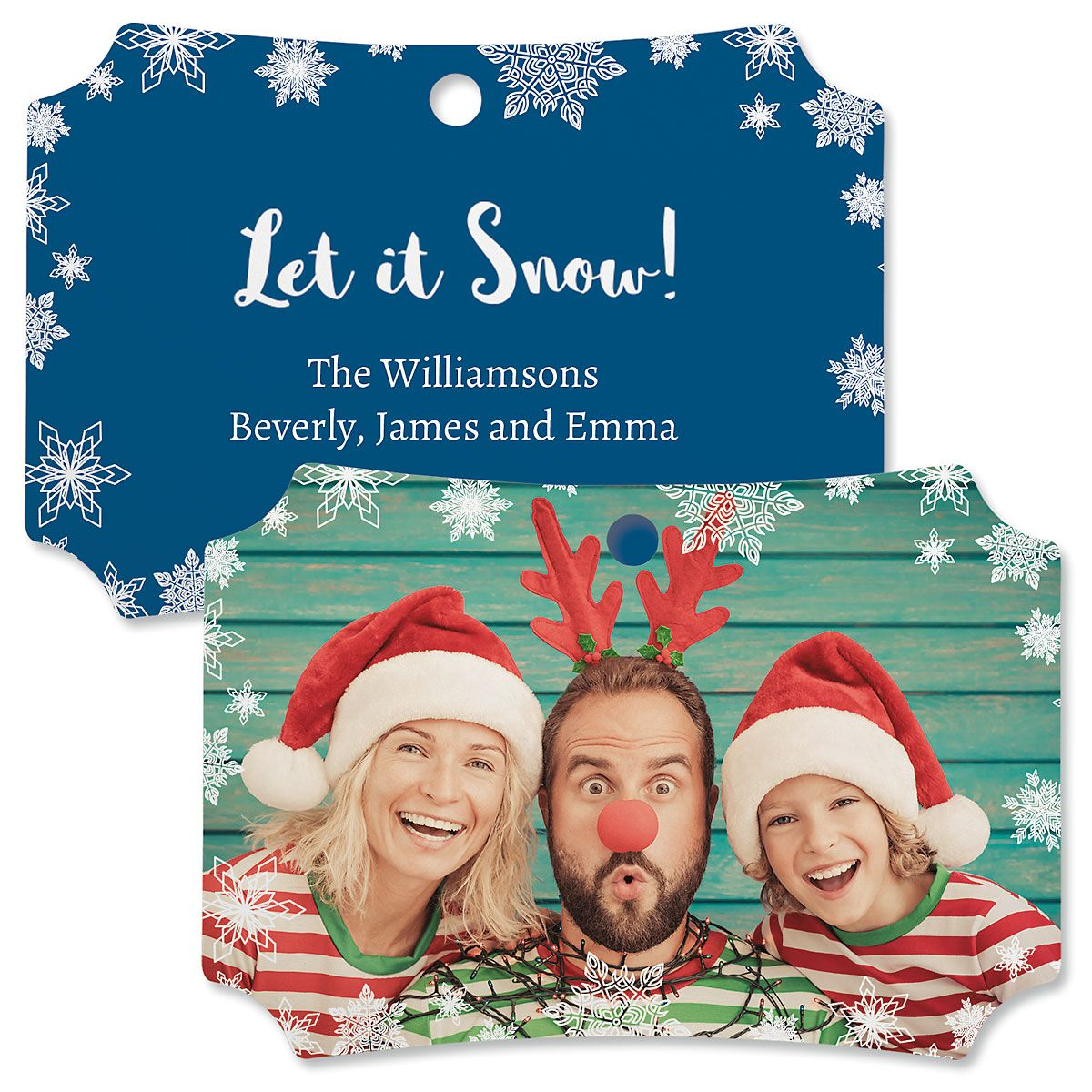 Let It Snow Personalized Photo Metal Ornament