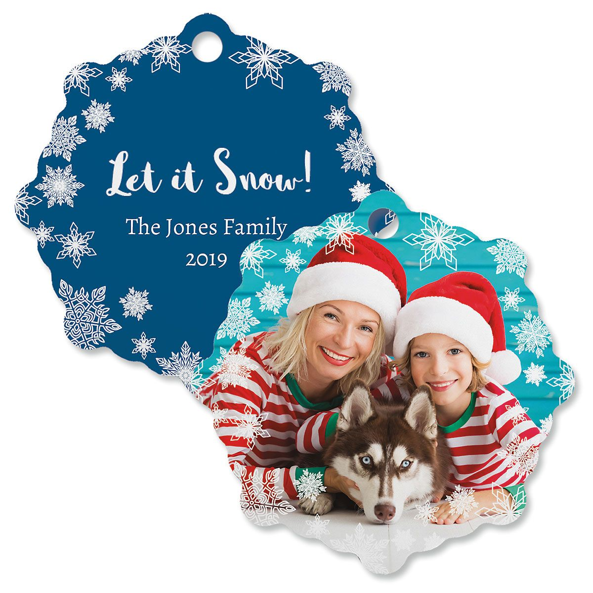 Let It Snow Personalized Photo Ornament – Snowflake