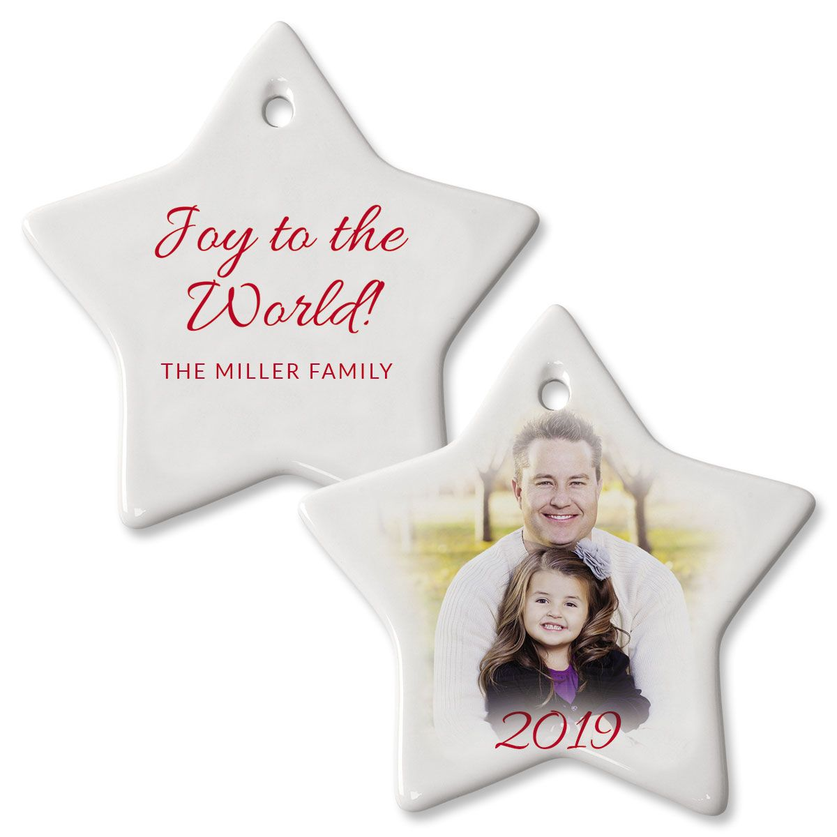 Joy Personalized Star Photo Ornament