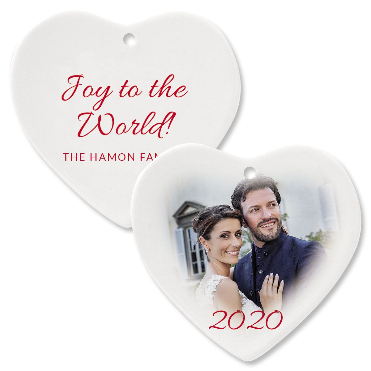 Joy Personalized Photo Ornament – Heart