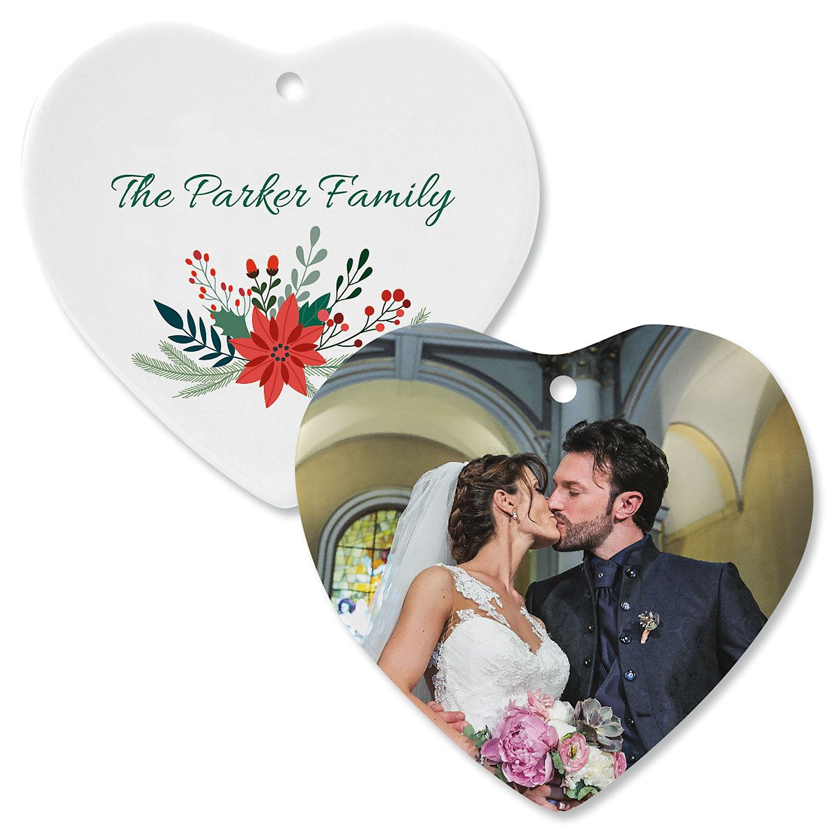 Holly Personalized Photo Heart Ornament