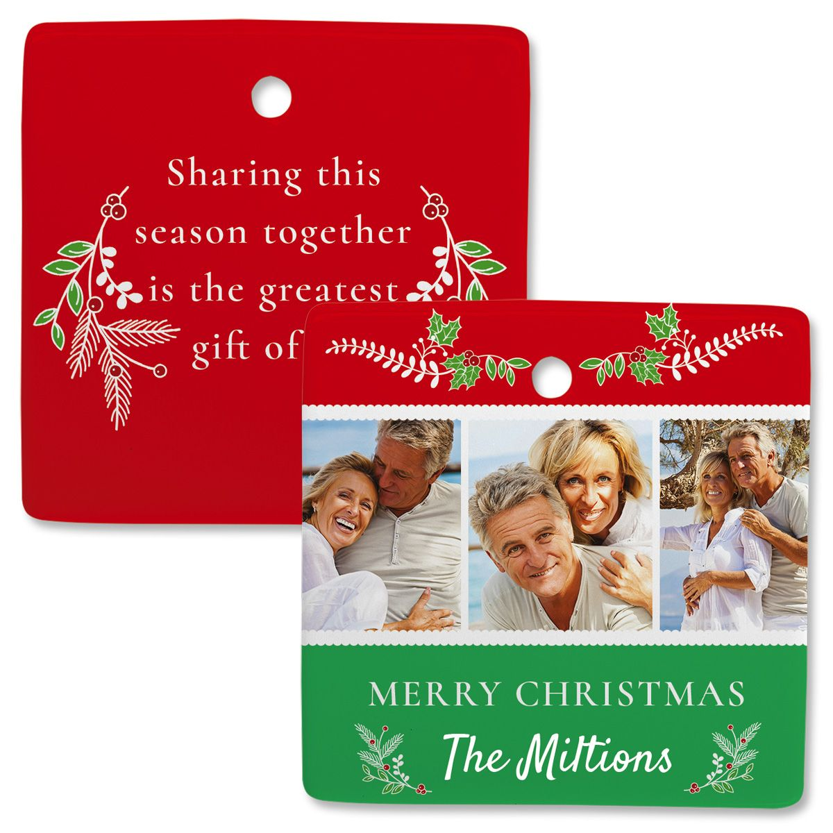 Holly Personalized 3 Photo Square Ornament