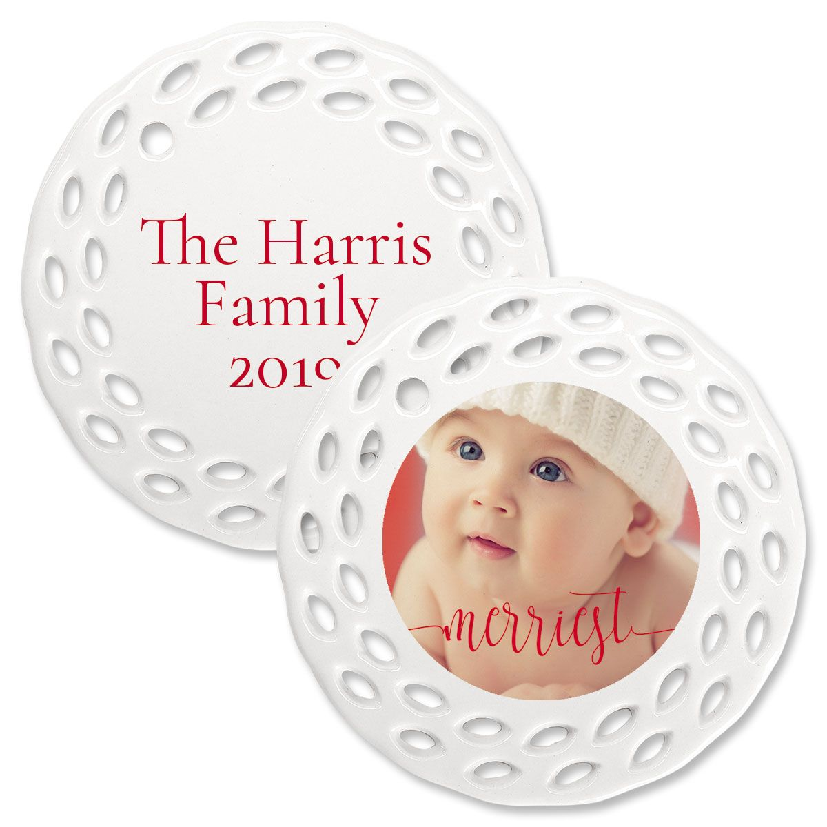 Merriest Personalized Doily Photo Ornament