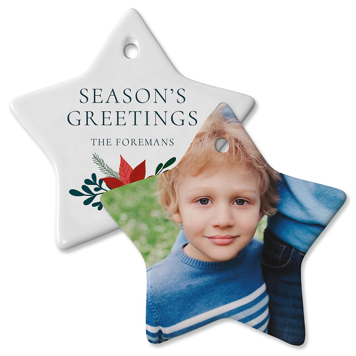 Holly Personalized Photo Star Ornament