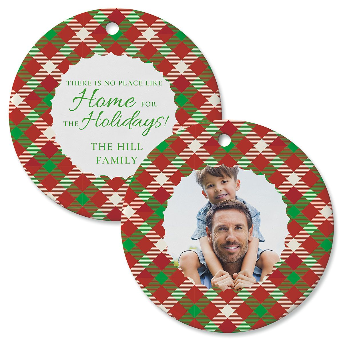 Scallop Plaid Personalized Photo Circle Ornament