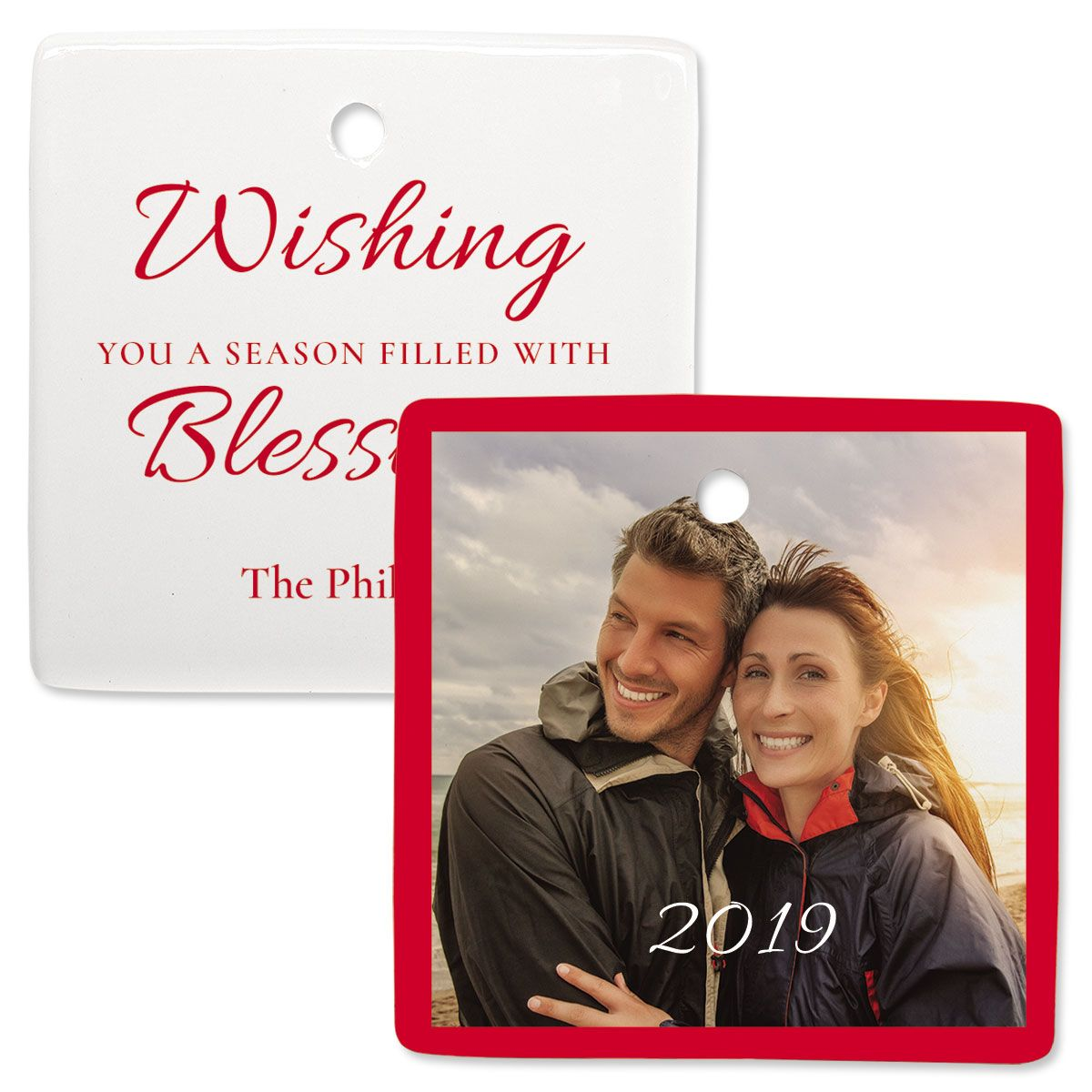 Blessings Personalized Square Photo Ornament