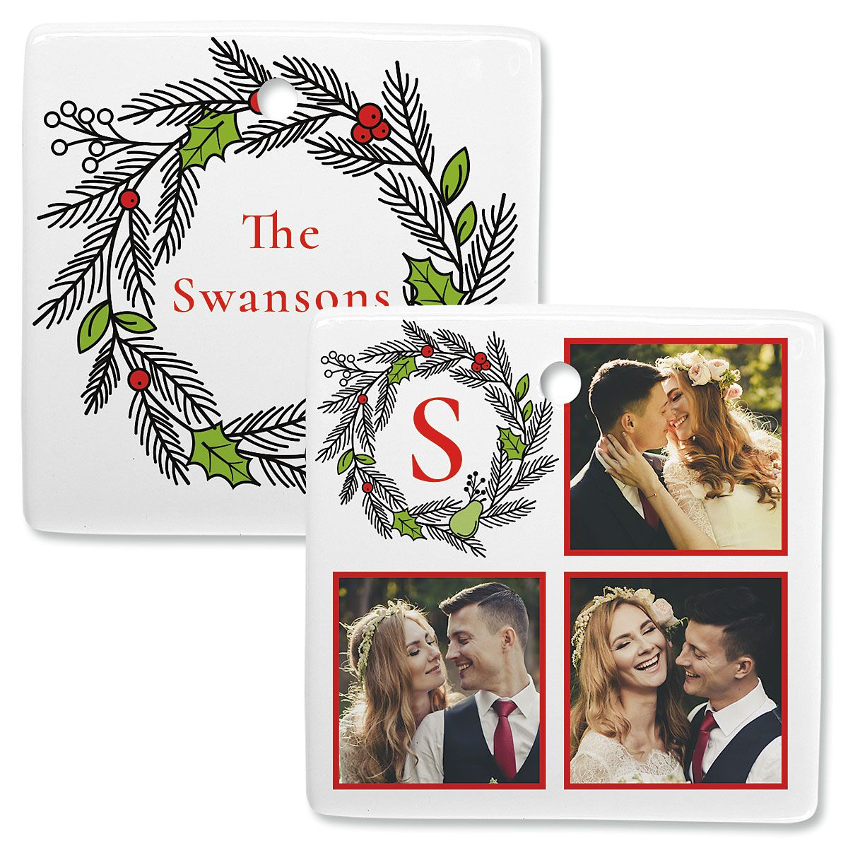 Wreath Personalized Photo Ornament – Square 3