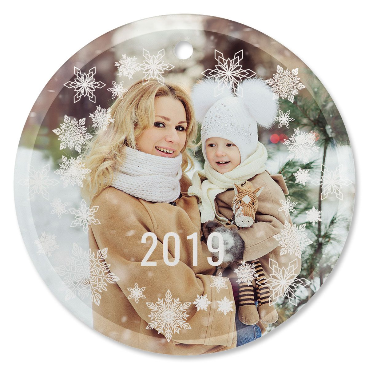 Snowflake Personalized Photo Ornament - Glass Round
