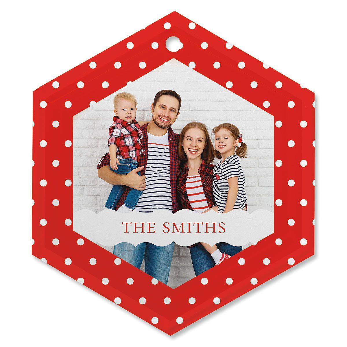 Polka Dot Personalized Photo Ornament - Glass Hexagon