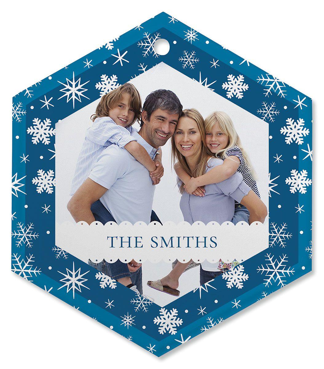 Blue Snow Photo Ornament - Glass Hexagon
