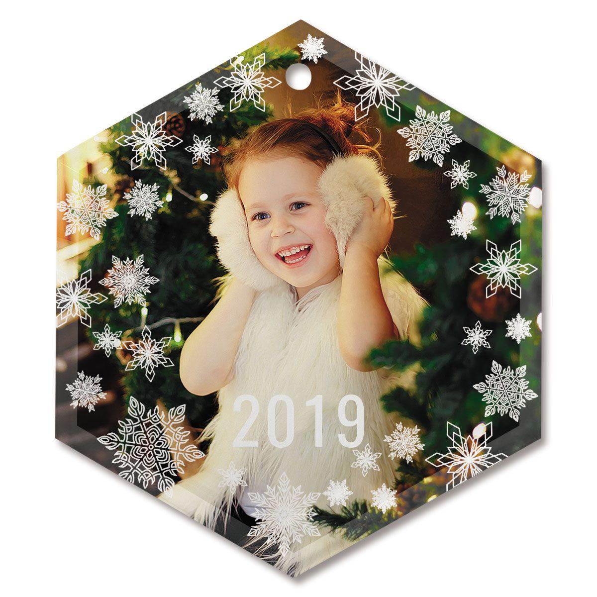 Snowflake Personalized Glass Hexagon Photo Ornament